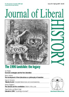 Cover of Journal of Liberal History 54 – Special issue: The 1906 landslide: the legacy